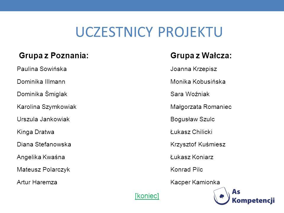UCZESTNICY PROJEKTU Grupa z Poznania: Grupa z Wałcza: [koniec]